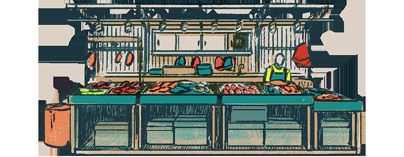 Pasar seafood stall
